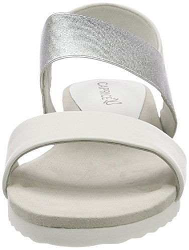 28608 Silver 191 Caprice Bride Blanc arrière White Sandales Femme wWgBvS