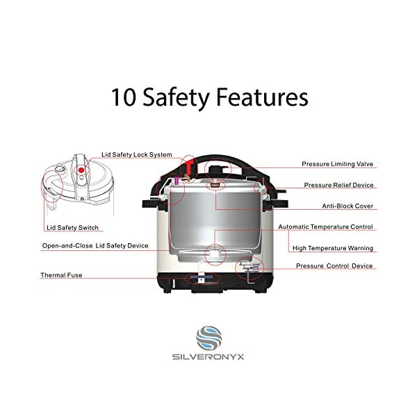 SilverOnyx 10-in-1 Programmable Pressure Cooker 6 Quarts with Stainless Steel Pot, Steamer & Warmer, Recipe Book… 5
