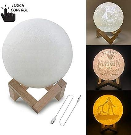 HAXS- Diámetro: 13 cm, interruptor táctil personalizada de 3 colores de impresión en 3D de la luna luz de carga USB de ahorro de energía LED de la noche sin nubes con base de madera titular