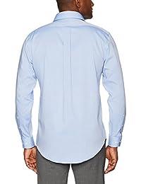 BOTÓN ABAJO - Camisa de vestir para hombre con cuello redondo de ajuste clásico, diseño de pinchos resistentes sin planchar