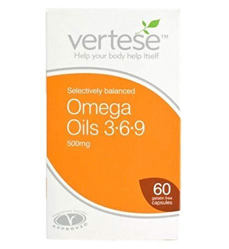 Vertese Omega Oils 3-6-9 500mg - 60 Gelatin Free Capsules - 4 Pack