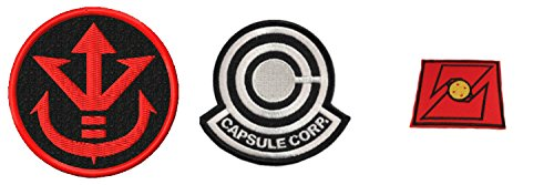DBZ 3 Pack Gift Set Includes Capsule Corp Saiyan and DBZ Logo Embroidered Iron/Sew-on Patch J&C Family Owned Brand