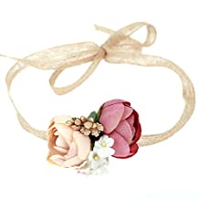Rosettes Wreath Headbands Baby Girl Floral Crown Wedding Beach Party Hair Accessories (champagne deep pink)