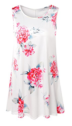AM CLOTHES Womens Plus Size Sleeveless Floral Flare Tunic Summer Swing Tank Top 2X White (Floral Flare)