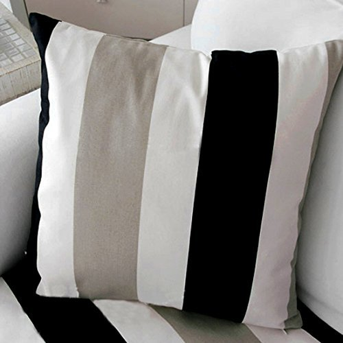TAOSON Black Brown White Stripe Pattern 100% Cotton Canvas Throw Pillow Case Decor Cushion Cover Pillow Cover Pillowcase with Hidden Zipper Closure Only Cover No Insert 20x20 Inch ()