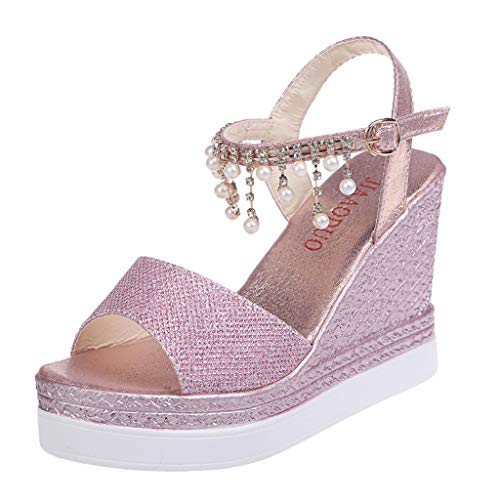◕‿◕Water◕‿◕ Women Wedges Sandals,Pearl Rhinestone Bohemia Retro Wedges Open Toe Sandals High Shoes Sandals Glitter Sandals Pink -