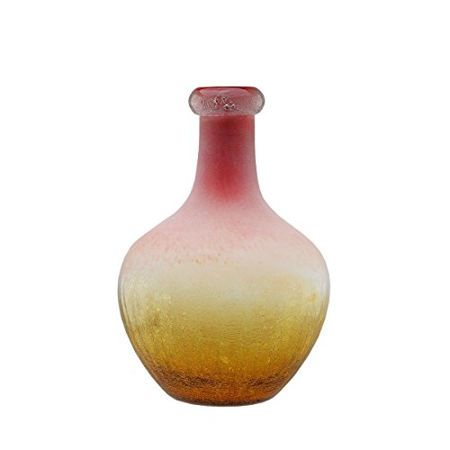 "Northlight 12.25"" Amber Yellow Crackled and Coral Frosted Hand Blown Glass Vase"