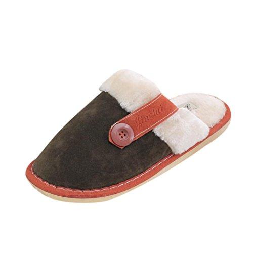 Sunfei Heren Womens Zacht Warm Indoor Katoen Slippers Thuis Antislip Schoenen Brons