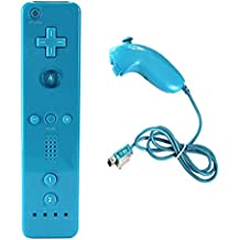 SREEGA Remote Controller And Nunchuck for Wii WiiU with Case Skin (Blue)