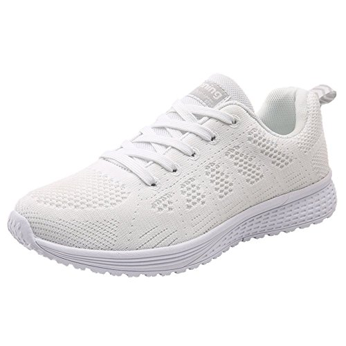 Monrinda Women Running Trainers Lightweight Mesh Lace up Sport Sneakers Ladies Breathable Shock Absorbing Gym Athletic Sneakers Casual Walking Shoes White Black Blue Pink Grey White