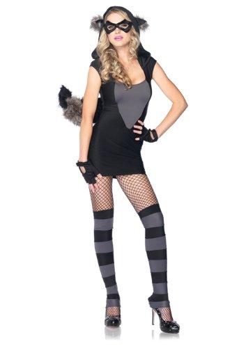 Leg Avenue Women's Risky Raccoon Costume, Black/Gray,