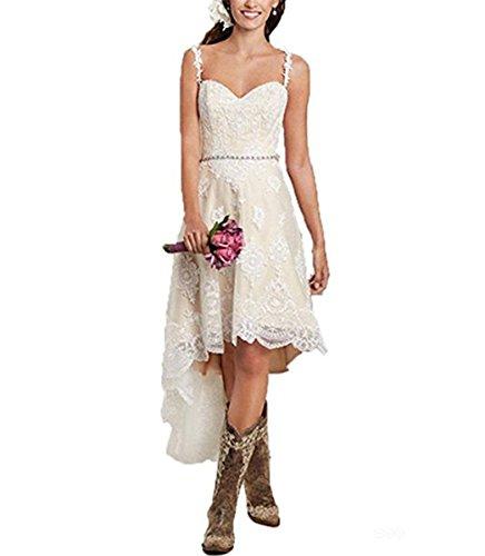 Vweil Rustic High Low Vestido De Novia Lace Wedding Dresses With Detachable Skirt VD23 by Vweil