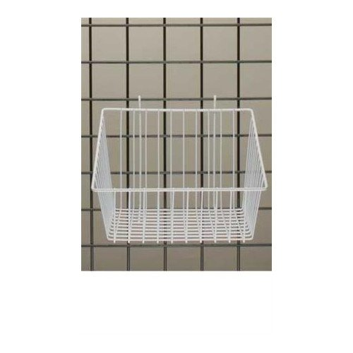 White Mini-grid Basket with 4'' Front 12''l X 12''w X 8''d