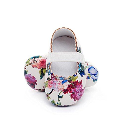 Clode® Neugeborene Säuglings Baby Mädchen Blumenmuster Krippe Schuhe Weiche alleinige Anti Rutsch Turnschuhe Weiß