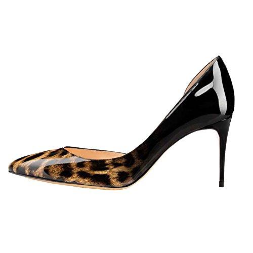 MERUMOTE - Zapatos de vestir de Material Sintético para mujer Schwarz-Leopard-Lackleder