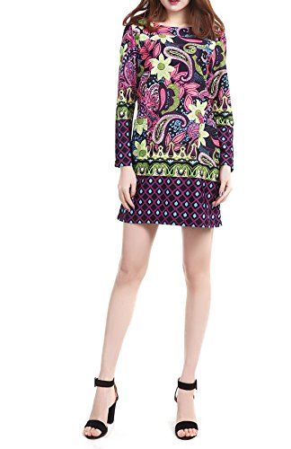 SexyTown Women's Floral Print Dress Long Sleeve Casual Dresses With Pockets XX-Large Color 17