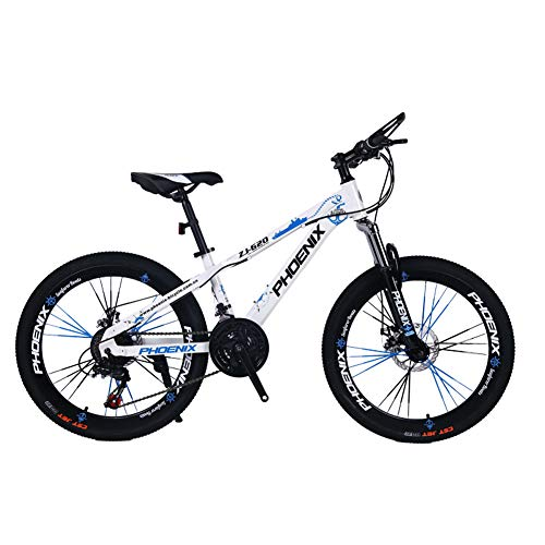 Children's bicycle LLL 24 Inch Variable Speed Mountain Bike 12-17 Years Old Boys and Girls Student Cycling (Color : White)