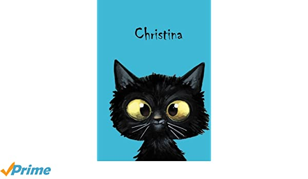 80 blanko Seiten Christina: DIN A5 Katze Personalisiertes Notizbuch