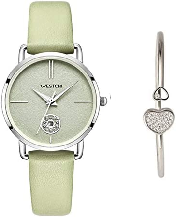 [スポンサー プロダクト]WESTCHI カレンダー高級時計本革ストラップ Citizen 防水 レディース腕時計エレガント ファッション スタイル 女性用 時計(グリーン)