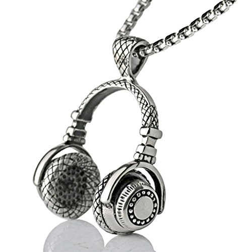 Qiao La Headphone Music Rock Earbud Earphone HipHop Hip Hop Necklace Pendant(Silver) (European Silver Dinner Plated)