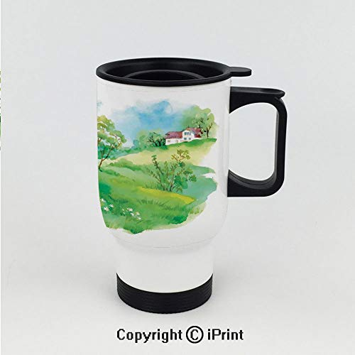 Splash-Proof Keeps Hot or Cold Thermos Cup,Pastoral Countryside View with Houses on Valley Lily Lands Up Back to the Nature,Double Wall Stainless Steel Vacuum ()