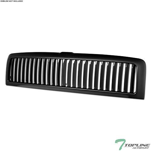 Topline Autopart Matte Black Vertical Front Hood Bumper Grill Grille ABS For 94-01 Dodge Ram 1500/94-02 2500/3500
