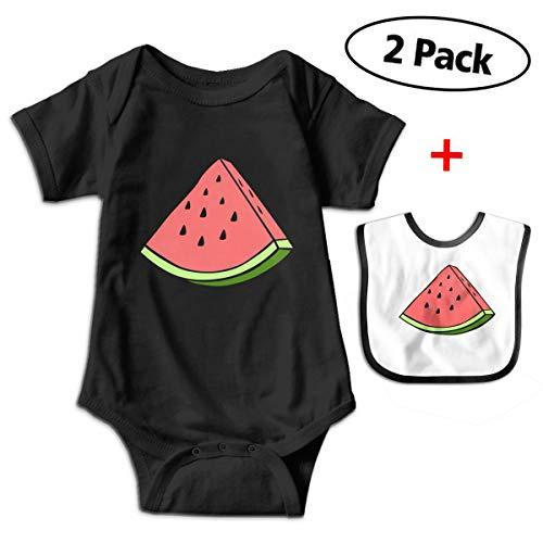 (Carmen Belinda Watermelon Baby Boys & Girls Short Sleeve Romper Jumpsuit Bodysuit Playsuit Outfits (with Bibs) Black)