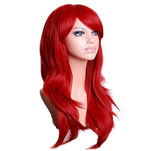 Halloween Wigs Comb (Allaosify Hair Long Curly Red Wigs Synthetic 28 inch Cosplay Wigs Halloween Party Cosplay Wig High Temperature Fiber Cosplay Wigs Kinky Curly Red Cosplay Wigs)