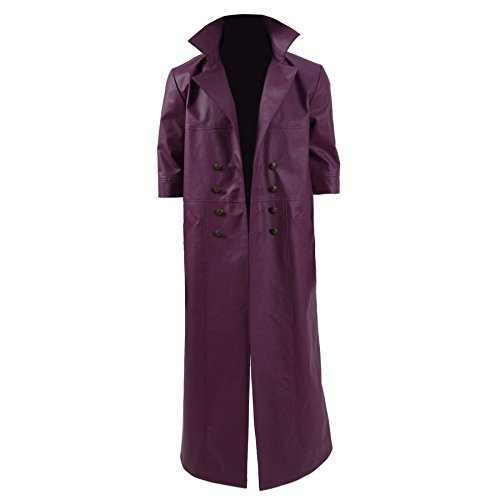 962e4543d4 delicate Gothic Trench Coat PU Leather Outwear Double-breasted Long Jacket  Overcoat for Men Women