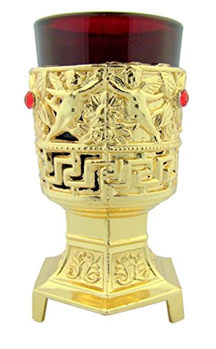 Metal Cherub Candle Holders - Gold Tone over Metal Cherub Angel Votive Stand with Glass Cup, 4 1/2 Inch