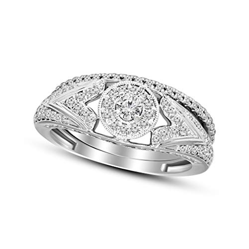 100% Real Diamond Ring Luxury Bridal 2 Pcs Diamond Ring Set 3/8 cttw Lab Grown Diamond Engagement Rings For Women Lab Created Diamond Rings SI-GH Quality 10K Real Diamond Band Rings