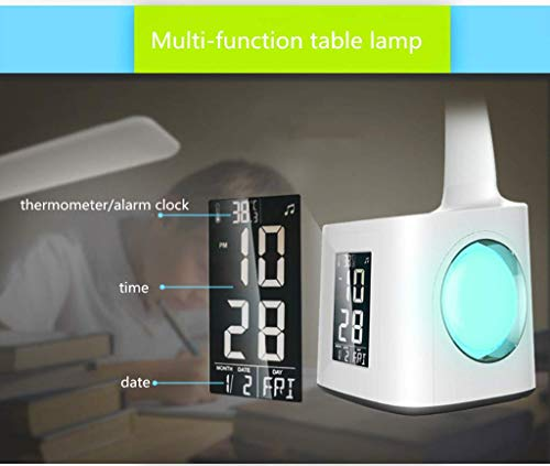 MRXUE Table Lamp Pen Holder Colorful Desk Lamp Screen with Date Time Alarm Clock Temperature Touch Control Eye-Care USB Charger Port Phone Charging by MRXUE (Image #3)