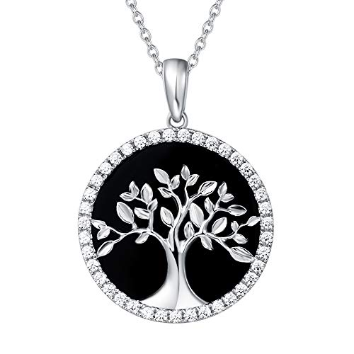 AGVANA Sterling Silver Natural Black Onyx Tree of Life Pendant Necklace Halo Cubic Zirconia CZ Fine Jewelry Gifts for Women Girls with Gorgeous Jewelry Box, 16