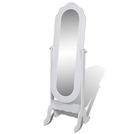 vidaXL Free Standing Mirror Full Length Dresser White Floor Mirror ...