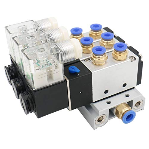 Solenoid Valve DC 24V 2 Positions 5 Way Triple Base 6mm Quick Fittings Mufflers