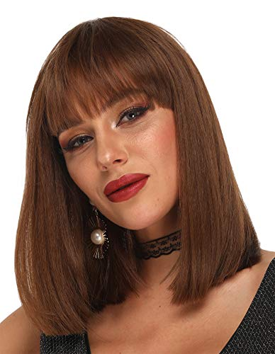 Ebingoo Short Bob Wig with Bangs Silky Honey Brown Synthetic Wigs with Shoulder Length Hair for Women Heat Resistant Wig for Daily Wear Cosplay 14 Inches