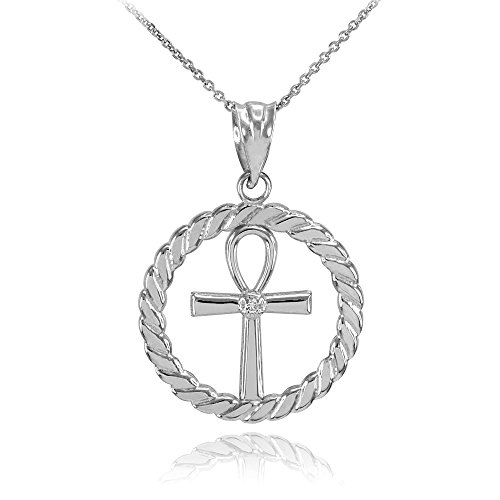 10k White Gold Roped Circle Egyptian Ankh Cross with Diamond Pendant Necklace, 22