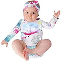 Kids Cloud Printed Romper and Headband, Keepfit Baby Girls Boys Cartoon Outfits Comfy Soft Jumpsuit Clothes Set (12 Months, White)