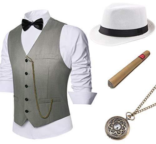 BABEYOND 1920s Mens Gatsby Gangster Vest Costume Accessories Set Manhattan Fedora Hat Bowtie Plastic Cigar Vintage Pocket Watch (Gray, Small -