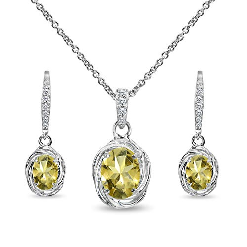 Sterling Silver Citrine & Cubic Zirconia Oval Love Knot Leverback Earrings & Pendant Necklace Set ()