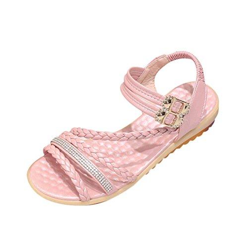 Elevin (tm) Dames Zomermode Peep-toe Bohemen Lage Platform Platte Slippers Sandaal Schoenen Roze