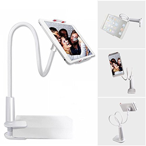 ShenMate Cell Phone Stand Holder with Flexible Gooseneck Arm, Adjustable Phone Clip for Bed Mount, Desk, Kitchen, Office, - Adjustable Helper Spring