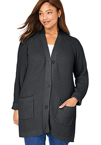 Woman Within Women's Plus Size Button Front Shaker Cardigan - Black, 30/32