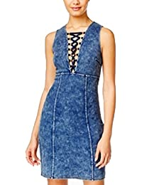 Marilyn Monroe Blue Size Small S Junior Denim Lace-up Stretch Dress