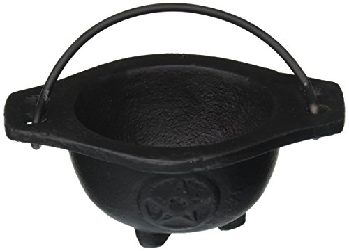 New Age Imports Inc. Small Pentagram Cast Iron Cauldron, 3 inches diameter -
