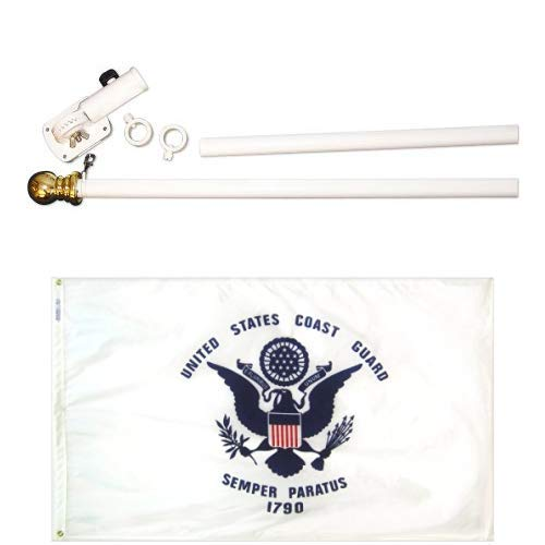 ft. Nyl-Glo U.S. Coast Guard Military Flag and 6 ft. 2 Section Spinning Pole Mounting Set ()