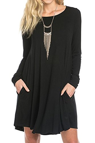 iconic luxe Women's Bamboo Long Sleeve Trapeze Dress Small (Bamboo Tunic)