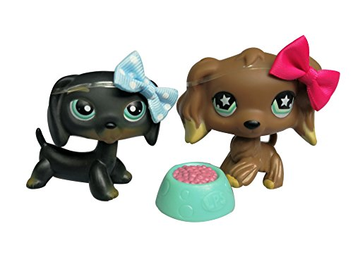 Cocker Spaniel Dachshund - Kid Gift 2PCS LPS Cocker Spaniel Brown #960 LPS Dachshund #325 Black Dog Puppy with Accessories Bow Food Toy Figure Collection