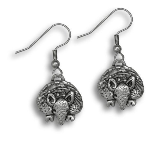 Pewter Armadillo Earrings by The Magic Zoo (Armadillo Costume)