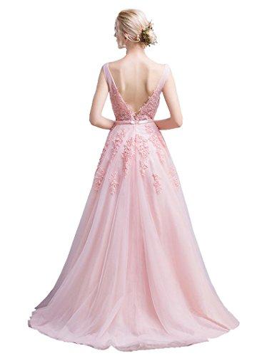 Blau Rückenfrei Ausschnitt Abendkleider Beauty EmilySpitze Arm Doppel Dunkel Ohne V 1qqFIwz